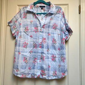 NWT Karen Scott Woven Shirt Plaid Floral Button Up